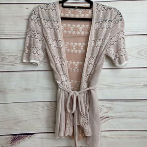 Knitted and Knotted Light Pink Belted Cardigan
